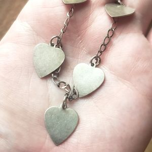 Art Deco Heart Charm Bracelet Sterling